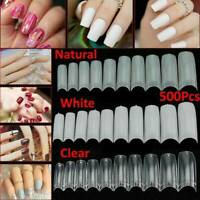 500x Artificial French False Acrylic Nail Art Tips White Clear Natural UV Gel AU