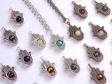 Hand of Protection Necklace Bronze or Silver Plated Genuine Gemstone Bead Hamsa