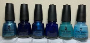 China Glaze Nail Polish BAHAMA BLUE Collection Complete 6 Lacquers (673-678)