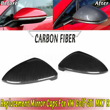 Pair For VW Golf Mk7 7.5 13-18 Gti Tdi Tsi R Carbon Fibre Wing Mirror Cover NEW