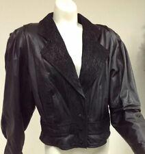 Vintage Laura Renee Ladies Leather Black Jacket Medium M 3 snap front biker cut