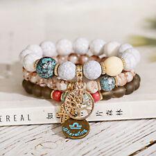 Tree of Life Turquoise Agate Gemstone Chakra Beaded Bracelet Charm Bracelet Set