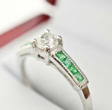 $4399 Deco Platinum 1.00ctw F-SI1 European Cut Diamond & Emerald Engagement Ring