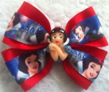 "Girls Hair Bow 4"" Wide Snow White Red Grosgrain Ribbon Alligator Clip"