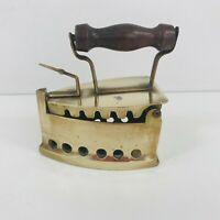 Antique Style Brass & Wood Sad Iron Coal Iron Vintage Decorative Iron Cast Brass