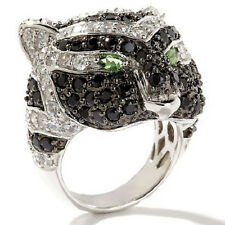 Yours by Loren 4.94ct Black Spinel and White Zircon Sterling Silver Tiger Ring 6