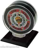 NEW SINGLE HOCKEY PUCK DISPLAY CASE HOLDER w BLACK BASE