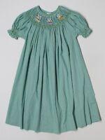 Girl Rosalina Smocked Bishop Dress Green Gingham Bees Holiday Size 5 LN