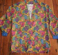 Animal Kingdom Colorful Tropical Retro OWLS 100% Cotton Scrubs Top Jacket L