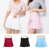Women Short Stretch High Waist Plain Skater Flared Pleated Mini Skirt