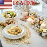 2X Dinner Mat Heat-Resistant Mat Washable PVC Table Mats Woven Vinyl Placemat EM