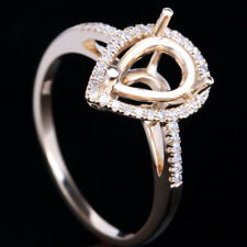 HOT! 10K YELLOW GOLD 10x6 PEAR SEMI MOUNT NATURAL DIAMOND ENGAGEMENT WEDING RING