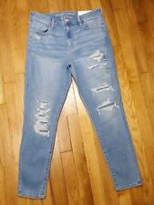 American Eagle Hi Rise Jegging Jeans Size 16 Long Destroyed Super Stretch X NWT