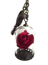 Valentines Day Present  Beauty And The Beast Necklace Rose Flower Glass Bottle