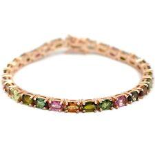 Sterling 925 Silver 14K Rose Gold Plated Natural Tourmaline Gems Tennis Bracelet