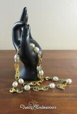 "Miriam Haskell 29"" Long Baroque Pearls and Gold Underwear Button Chain Necklace"
