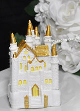 "CASTLE CAKE TOPPER  QUINCEANERA SWEET 16 PRINCESS BIRTHDAY PARTY 4.5"" GOLD TRIM"