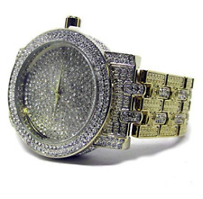 Ultimate Bling Faux Diamond Gold Plated Metal Strap HipHop Bling Watch