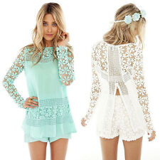 Summer Ladies Lace Blouse Tops Womens Chiffon Shirt Dresses UK Size 6-14