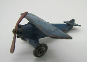 Vtg Kansas Toy & Novelty Co Blue Slush Cast Propeller Single Prop Airplane Plane