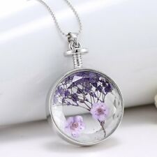 Unique Purple Dried Real Flower Clear Glass Locket Pendant Necklace Silver Chain