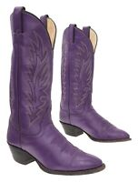JUSTIN Cowboy Boots 7 C Womens PURPLE Leather Western Rodeo Show Boots Biker USA