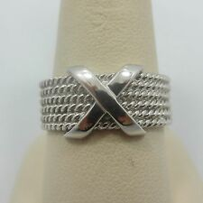 Sterling Silver X woven Wedding anniversary Band engagement ring 925 size 10.75