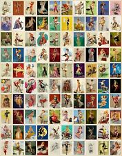 100 GIL ELVGREN Pin-up Art Stickers SEXY GIRLS BBQ SAILOR COWGIRL MOTORCYCLE