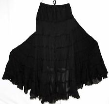 M L BOHO GOTHIC HIPPIE STEAM PUNK GYPSY TRIBAL BELLY DANCING CIRCLE TIERED SKIRT