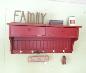 Wall Storage Unit Solid Wood Coat Rack Glove Storage Shelf Primitive Country Dis