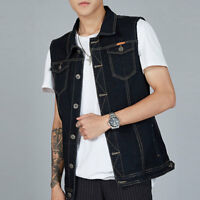 Mens Casual Waistcoat Denim Vest Jean Jacket Sleeveless Vintage Punk Blue M-8XL