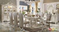 """Versailles 5 Piece Formal Luxury Dining Room Set 120"""" Table 4 Chairs Bone White"""