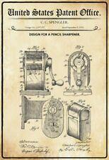 US Patent Anspitzer Pencil Sharpener 1916 Blechschild Metal Tin Sign 20 x 30 cm