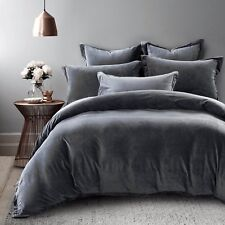 Charcoal Grey Velvet Fur QUEEN Size Quilt Cover Doona Duvet Luxuriously Soft NEW