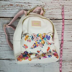Betsey Johnson Backpack Purse Ivory Pink Floral Leather Zip Up Gold Chain Handle