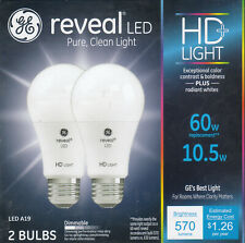 GE Lighting 98595, Reveal HD Pure Clean Ligh, Dimmable LED A19, (60-Watt) 2 PACK