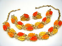 Iconic Vintage Lisner Glowing Lucite Leaf Parure Rhinestones Pale Gold Tone