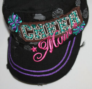 New Bling Destroyed Cheer Mom Ball Cap Buckle Closure Black