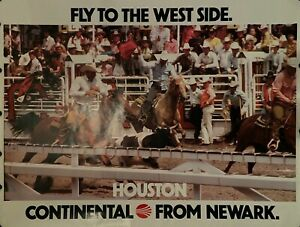 """CONTINENTAL AIRLINES HOUSTON 1970'S ORIGINAL TRAVEL POSTER 45"""" X 59"""" ROLLED NEW"""