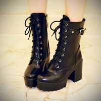 Womens Punk Lace Up Round Toe Chunky Heels Platform Military Mid Calf Goth Boots