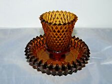 Amber Diamond Point Glass Peg Votive Cup Candle Holder Homco Peglite with base