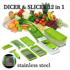 12PCS Vegetable Fruit Nicer Slicer Dicer Plus Chopper Cutter Peeler Food Proce