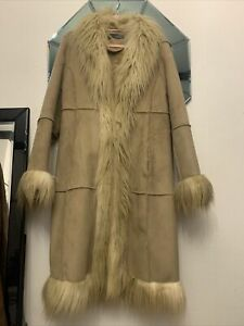 Vintage Hippie River Island Faux Suede Penny Lane Afghan Coat Uk 12 Ex Con