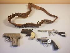 4 Vintage Cap Gun Collection Belt W/ Bullets, Colt, Tommy Gun, Hide-Away, Dick