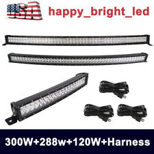 """300W 52"""" curved LED Work Light Bar+ 288W 50"""" Curved Light+120W 22"""" Curved+Wiring"""