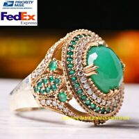 Turkish Handmade 925 Sterling Silver Emerald Stone Ladies Womans Ring All Sizes