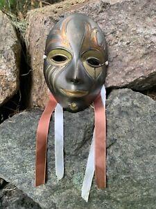 Vintage Solid Brass Mask Wall Art - Theatre Arts Boho Decor