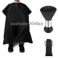 Pro Salon Hair Cutting Nylon Cape Barber Hairdressing Gown Neck Duster Brush Set