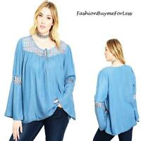 PLUS Blue Denim Hippie Bell Sleeve Crochet Haute Peasant Tunic Top 1X 2X 3X 4X