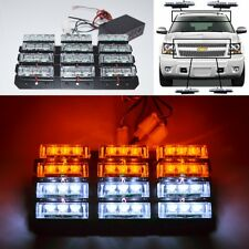 UNIVERSAL 36 LED EMERGENCY/WARNING FLASHING WHITE/AMBER STROBE LIGHT GRILLE LAMP